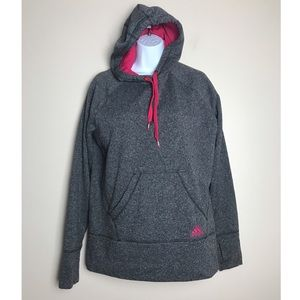Adidas Ultimate Hoodie Large Gray and Pink Sweater